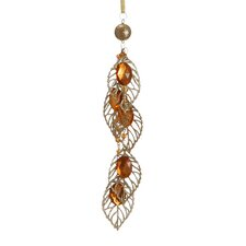 """8.5"""" Gold Glittered Amber Jeweled Leaf and Bead Pendant Christmas Ornament"""