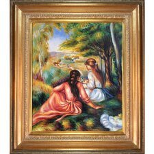 'Two Girls in the Meadow (Picking Flowers)' by Renoir Framed Painting Print on Canvas