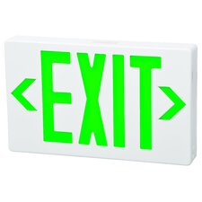 LED Exit Sign in Green LED and White Housing with Battery Backup