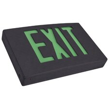 LED Exit Sign in Green LED and Black Housing with Battery Backup