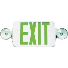 Micro Combo LED and Exit / Emergency Light in Green LED and White Housing