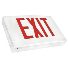 Cast Aluminum LED Exit Sign with Red Lettering, White Housing and White Face
