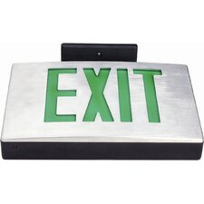 Cast Aluminum LED Exit Sign with Green Lettering, Aluminum Housing and Black Face