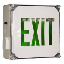 Wet Location LED Exit Sign Battery Backup Unit with Green Letter