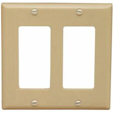 2 Gang Decorator / GFCI Lexan Wall Plates in Ivory (Set of 7)
