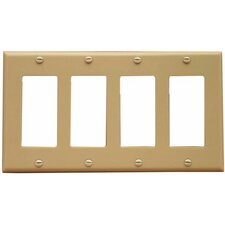 4 Gang Decorator / GFCI Lexan Wall Plates in Ivory (Set of 8)