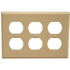 3 Gang Duplex Lexan Receptacle Wall Plates in Ivory (Set of 4)