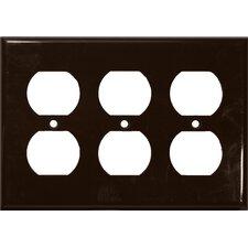 3 Gang Duplex Lexan Receptacle Wall Plates in Brown (Set of 4)