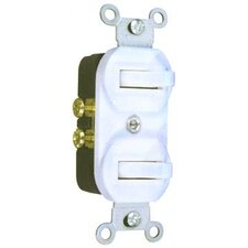 15A-120/277V Single Pole Double Switch in White (Set of 3)