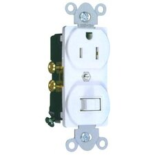 Combination Single Pole Switch and Receptacle in White (Set of 2)