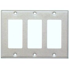 Three Gang Decorator and GFCI Metal Wall Plates in Stainless (Set of 3)