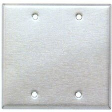 Two Gang and Blank Metal Wall Plates in Stainless (Set of 4)
