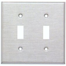Two Gang and Toggle Switch Metal Wall Plates in White (Set of 4)