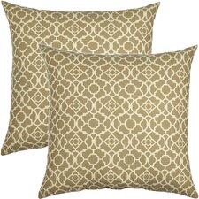 Lovely Lattice Cotton Throw Pillow (Set of 2)