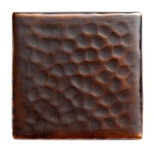 """Solid Hammered Copper 2"""" x 2"""" Decorative Accent Tile in Antique Copper"""