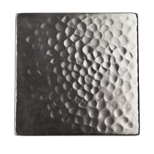 """Solid Hammered Copper 4"""" x 4"""" Decorative Accent Tile in Satin Nickel"""