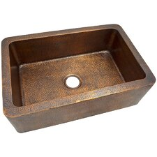 """32"""" x  21"""" Solid Hand Hammered Large Single Bowl Farmhouse Kitchen Sink"""