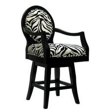 "Zebra 24"" Swivel Bar Stool with Cushion"
