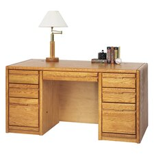 Medium Oak Double Pedestal Executive Desk