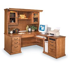 Huntington Oxford L-Shape Executive Desk with Hutch