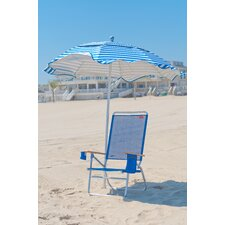6 ft. Diameter Fiberglass Beach Haven Umbrella - Pacific Blue and White Stripe