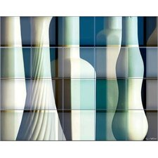 Two Bottles Kitchen Tile Mural in Multi-Colored