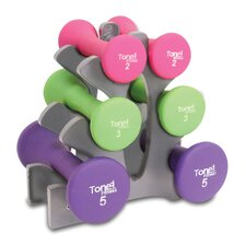 7 Piece 20 lbs Hourglass Dumbbell Set