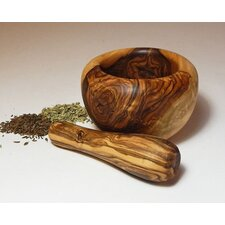 Olive Wood Small Mortar and Pestle