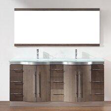 """Dinara 72"""" Double Bathroom Vanity Set with Mirror"""