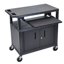 Fixed Height Presentation Cart with 3 Shelves Pullout Shelf and Cabinet