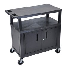 Utility Cart with 3 Shelves and Cabinet