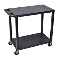 E Series Utility Cart with 2 Flat Shelves