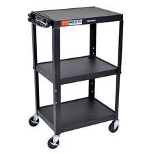 Adjustable Height Open Shelf AV Cart