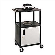 Open Shelf Endura Equipment AV Cart with Locking Cabinet