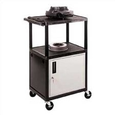 High Low Priced Open Shelf Table with Locking Cabinet/Big Wheels