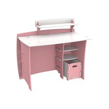 Princess Computer Desk with Accessory Shelves & File Cart