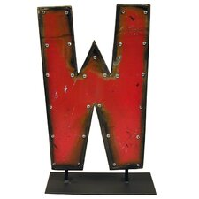 Moonshine Metal Letters W on a Stand Letter Block
