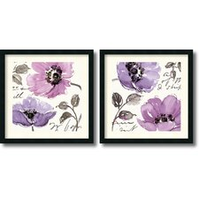 'Floral Waltz Plum' by Pela Studio 2 Piece Framed Painting Print Set