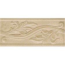 "Ash Creek 9"" x 4"" Glazed Ceramic Flora Accent Tile in Almond"