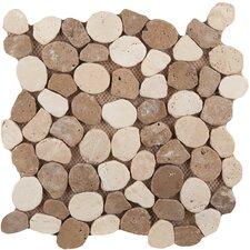 Random Sized Travertine Pebble Tile in Beige/Mocha