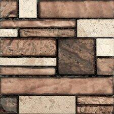 Vista Random Sized Stone and Glass Splitface Tile in Brown/Beige