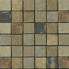 "Natural Stone 2"" x 2"" Slate Mosaic Tile in Autumn Lilac"