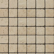 "Natural Stone 2"" x 2"" Travertine Mosaic Tile in Ivory Classic"