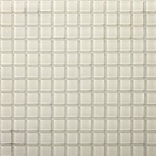 "Lucente 1"" x 1"" Glass Mosaic Tile in Blanc"