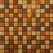 "Lucente 1"" x 1"" Glass Mosaic Tile in Harvest Aglow"