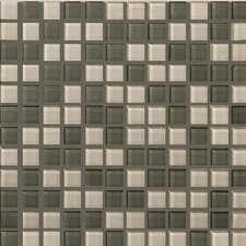 "Lucente 1"" x 1"" Glass Mosaic Tile in Pewter Fog"