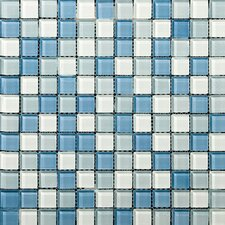 "Lucente 1"" x 1"" Glass Mosaic Tile in Ocean Mist and Crystal"