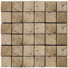 "Natural Stone 2"" x 2"" Travertine Mosaic Tile in Mocha"