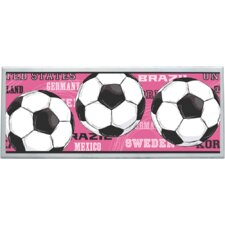 Pink Soccer Balls Wall Plaque