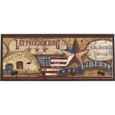 Americana Graphic Art on Plaque with Pegs
